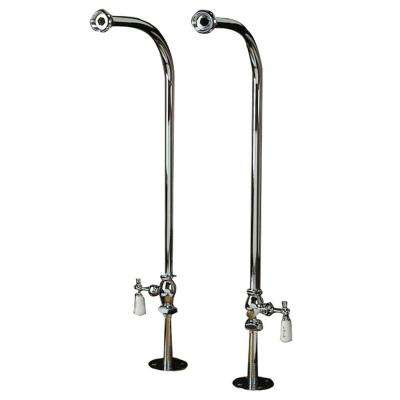 1/2 in. x 1/2 in. x 30 in. Freestanding Tub Hot and Cold Supply Line Set in Polished Chrome