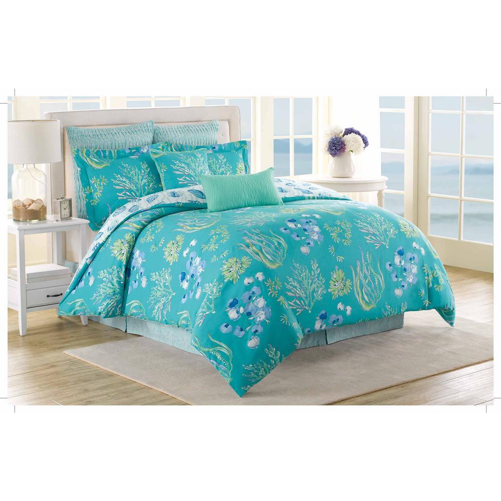 Royal Heritage Home Soho New York Beachcomber 8-Piece Aqua Queen Comforter