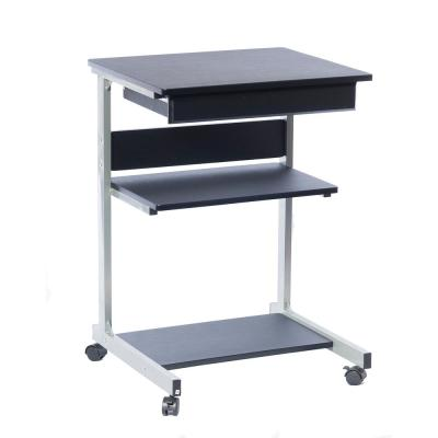 22 in. Rectangular Graphite/Chrome 1 Drawer Laptop Desk with Wheels