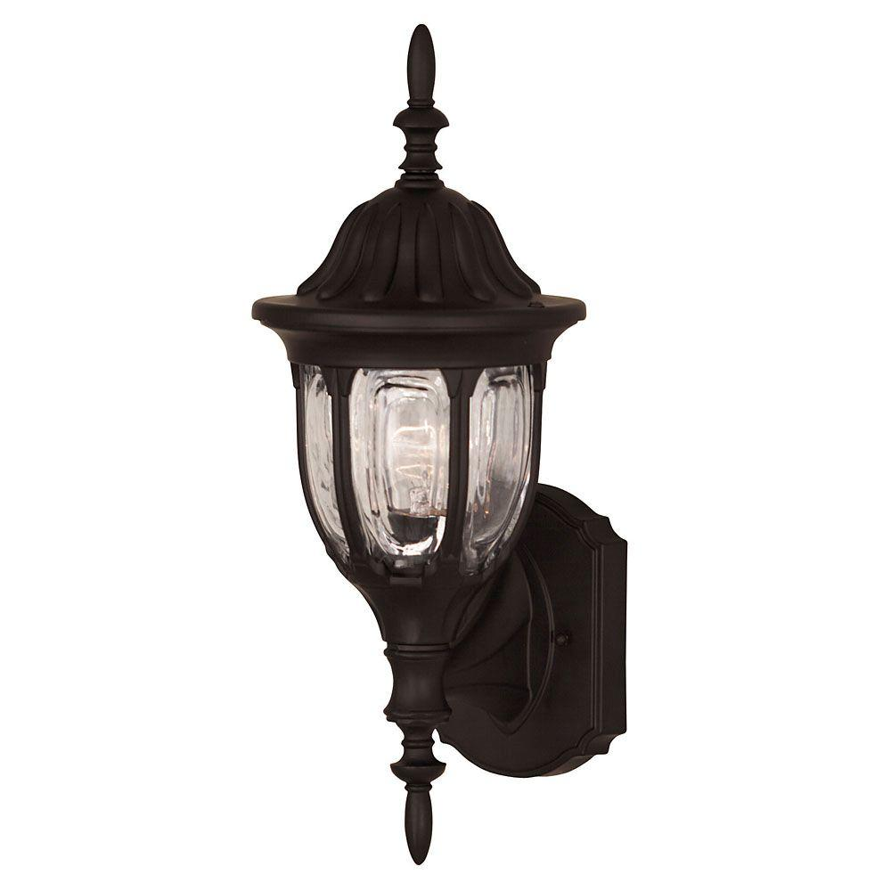Illumine 1-Light Black Wall Mount Lantern with Clear Glass