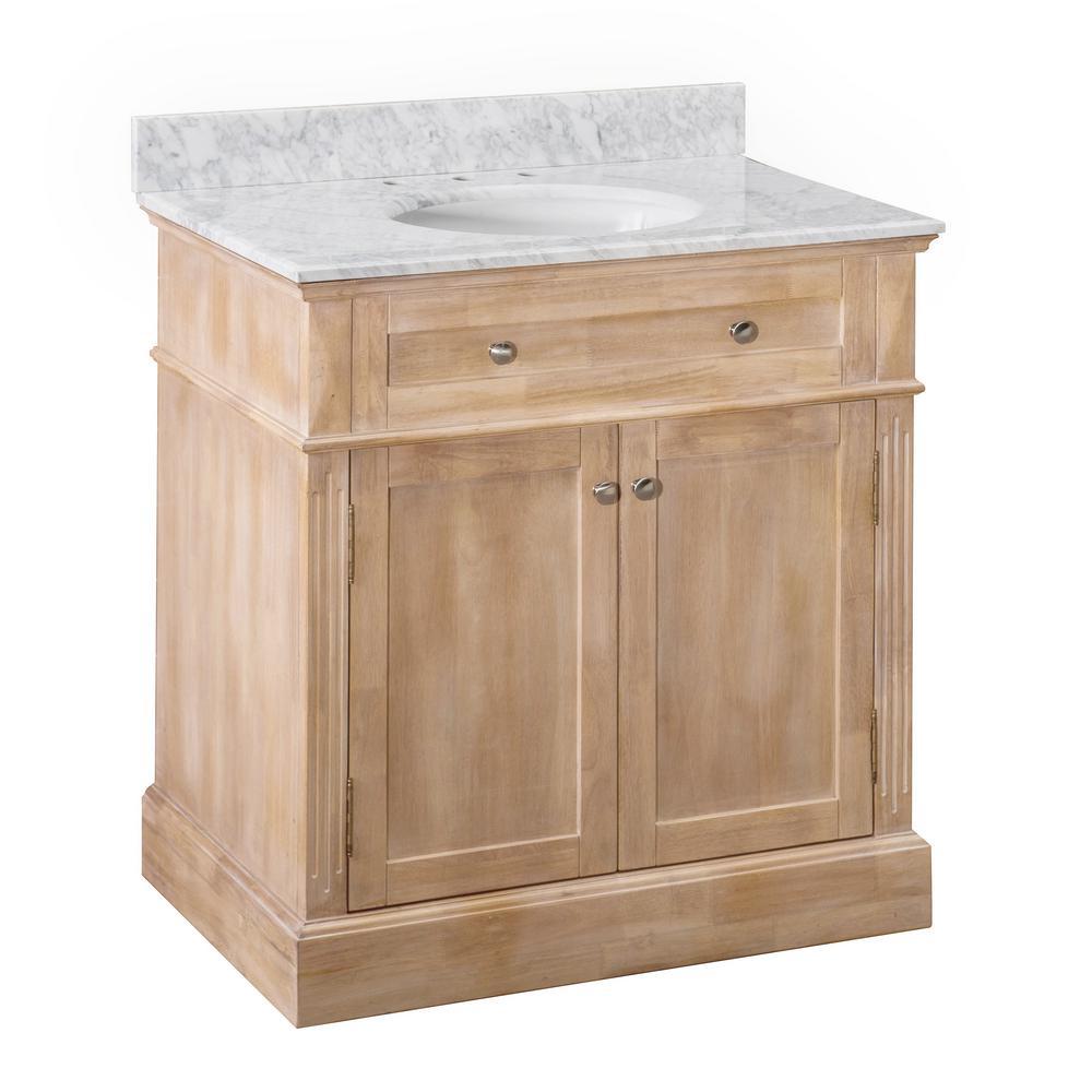 Blaire Brown 36 in. W x 22.05 in. D x 35.75 in. H Modern Rustic Bathroom Vanity with Marble Vanity Top and Single Basin