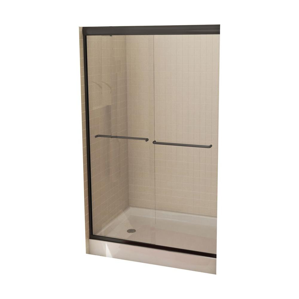 MAAX Tonik 47-1/2 in. x 71 in. Frameless 2-Panel Shower Door in Oil Rubbed Bronze with Clear Glass