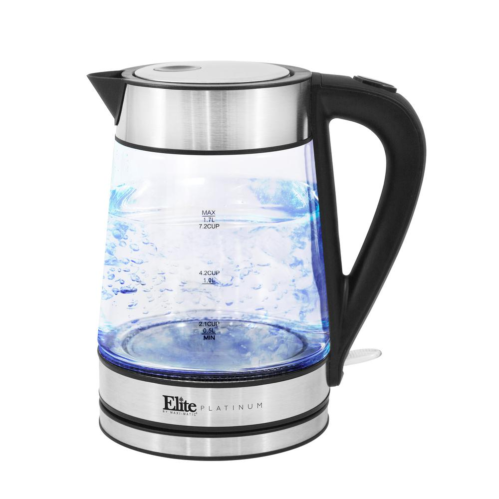 7-Cup Clear Glass Electric Kettle with Water Level Indicator The Elite Platinum Cordless Electric Glass Kettle is the perfect blend of elegance and functionality. Not only is this kettle a beautiful addition to any kitchen countertop, but it also boils water efficiently. Using this kettle will save time and energy over the use of conventional stovetop kettles. Color: Clear.