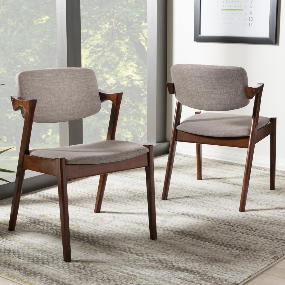 Baxton Studio Elegant Gray Fabric Upholstered Dining Chairs (Set of 2)
