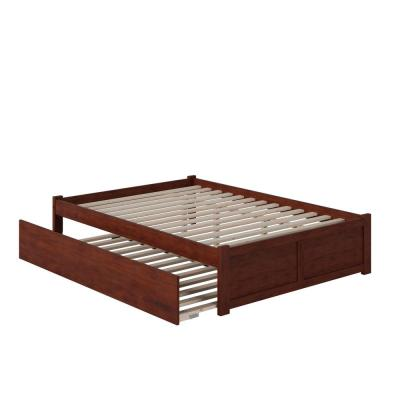 Concord Queen Bed with Footboard and Twin Extra Long Trundle in Walnut