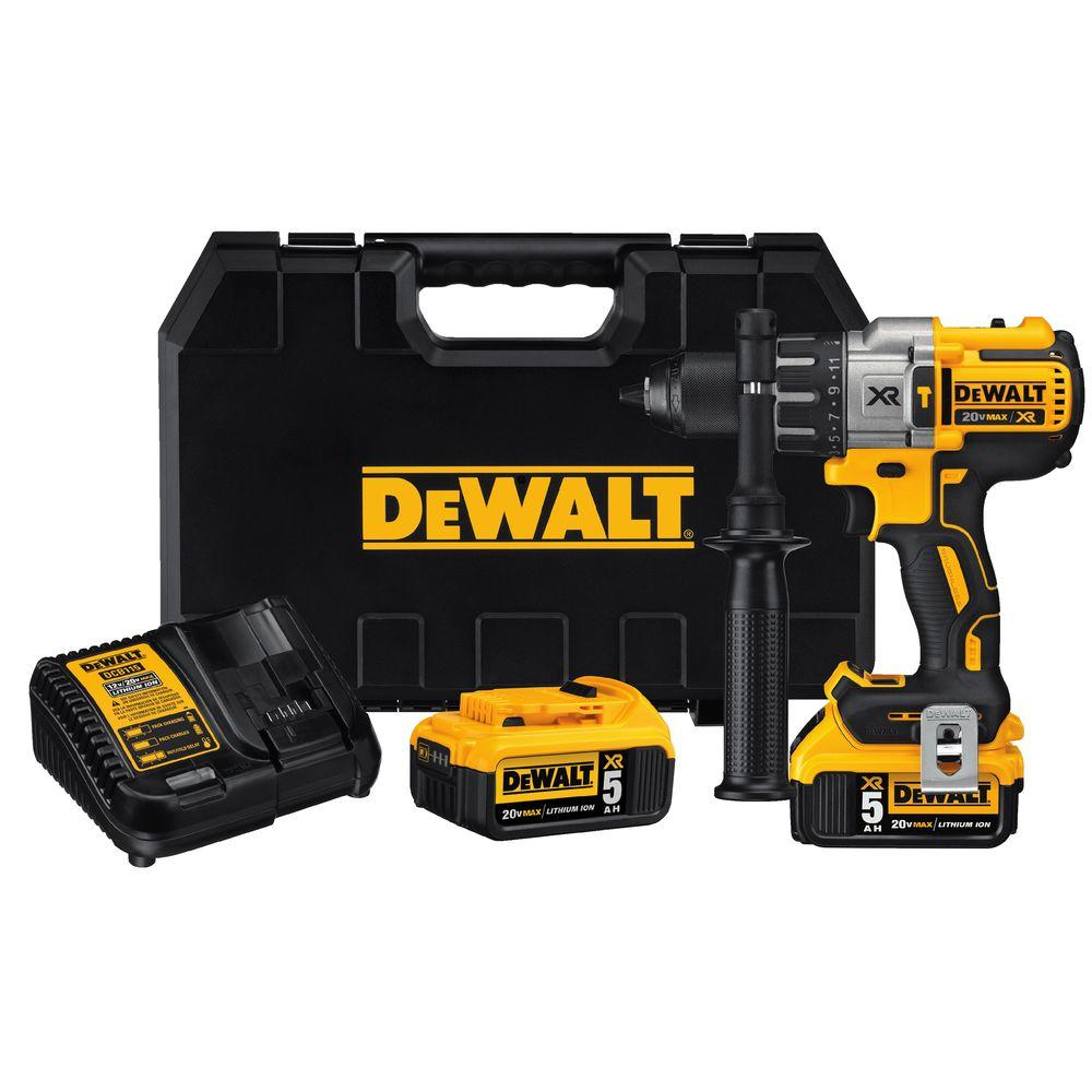 Dewalt 20-Volt MAX XR Lithium-Ion Cordless Premium Brushless Hammer Drill with (2) Batteries 5Ah, Charger and Case