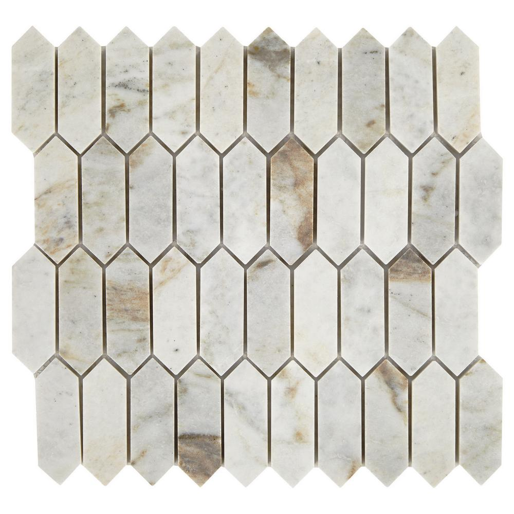 Daltile Restore Coastal Polished 11 in  x 11 in  x 8mm Marble Mosaic Floor  and Wall Tile (0 9 sq  ft / piece)