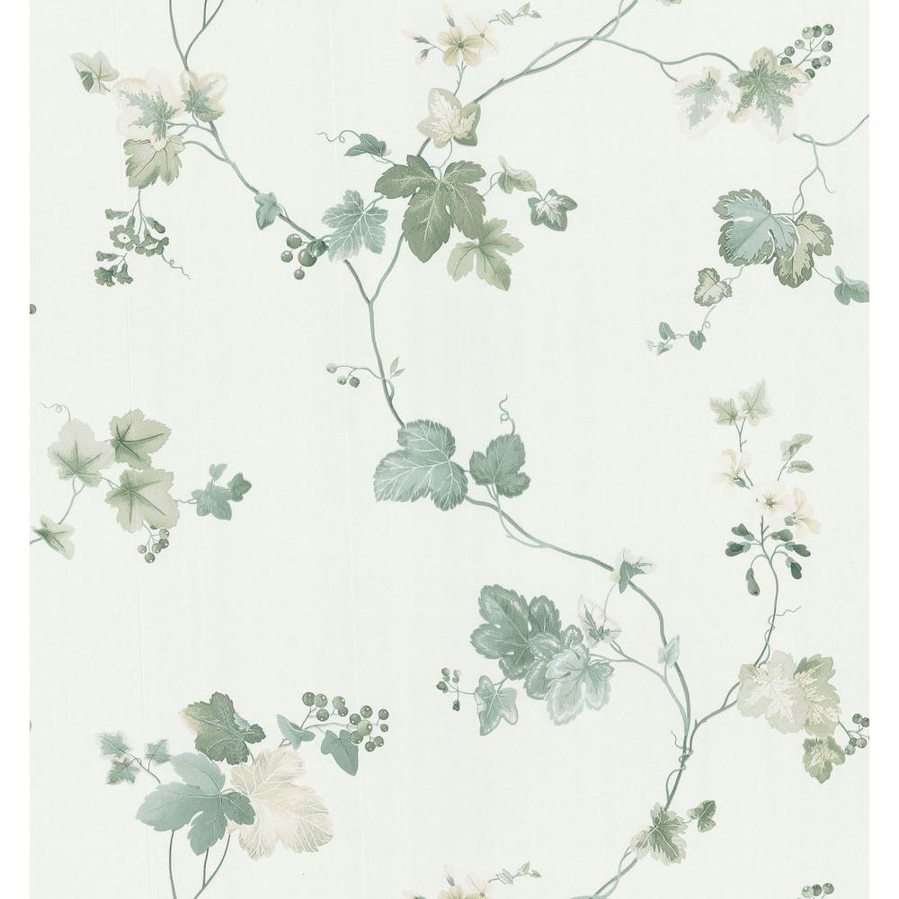 Brewster Kitchen Bath Bed Resource III Green Vine Trail Wallpaper Sample