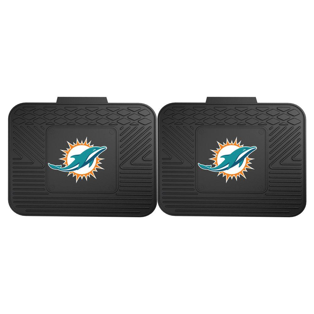 Fanmats Nfl Miami Dolphins Black Heavy Duty 2 Piece 14 In