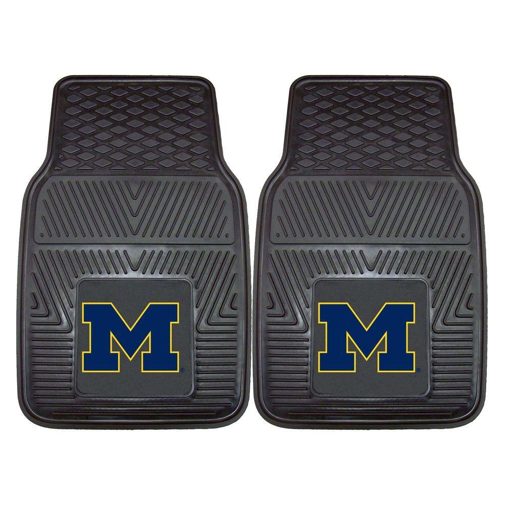 University of Michigan 18 in. x 27 in. 2-Piece Heavy Duty Vinyl Car Mat