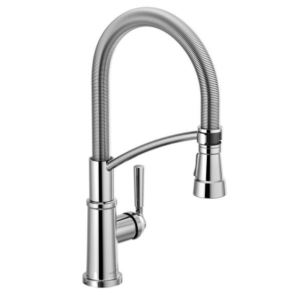Westchester Single-Handle Pull-Down Sprayer Kitchen Faucet with Spring Spout in Chrome
