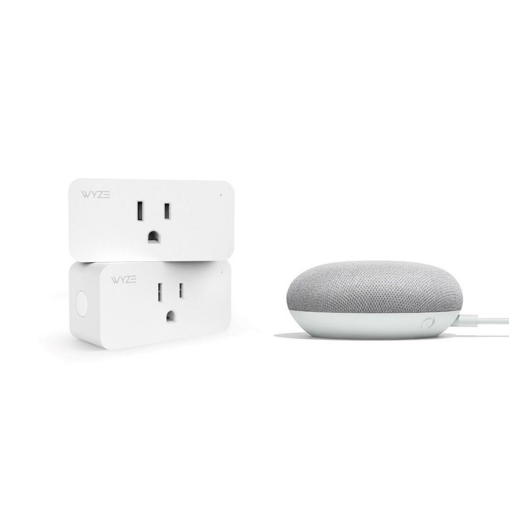 Smart Plug 2-Pack + Google Nest Mini (2nd Gen) Smart Speaker Chalk