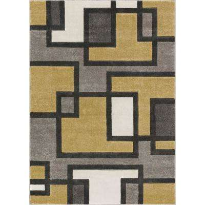 Ruby Imagination Squares 9 ft. 3 in. x 12 ft. 6 in. Modern Geometric Squares Gold Area Rug