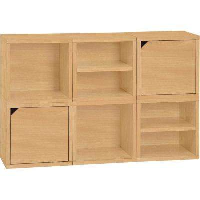 Connect System 40.2 in. W x 25.2 in. H zBoard Paperboard Modular Eco Stackable 6-Cube Cubby Organizer in Natural