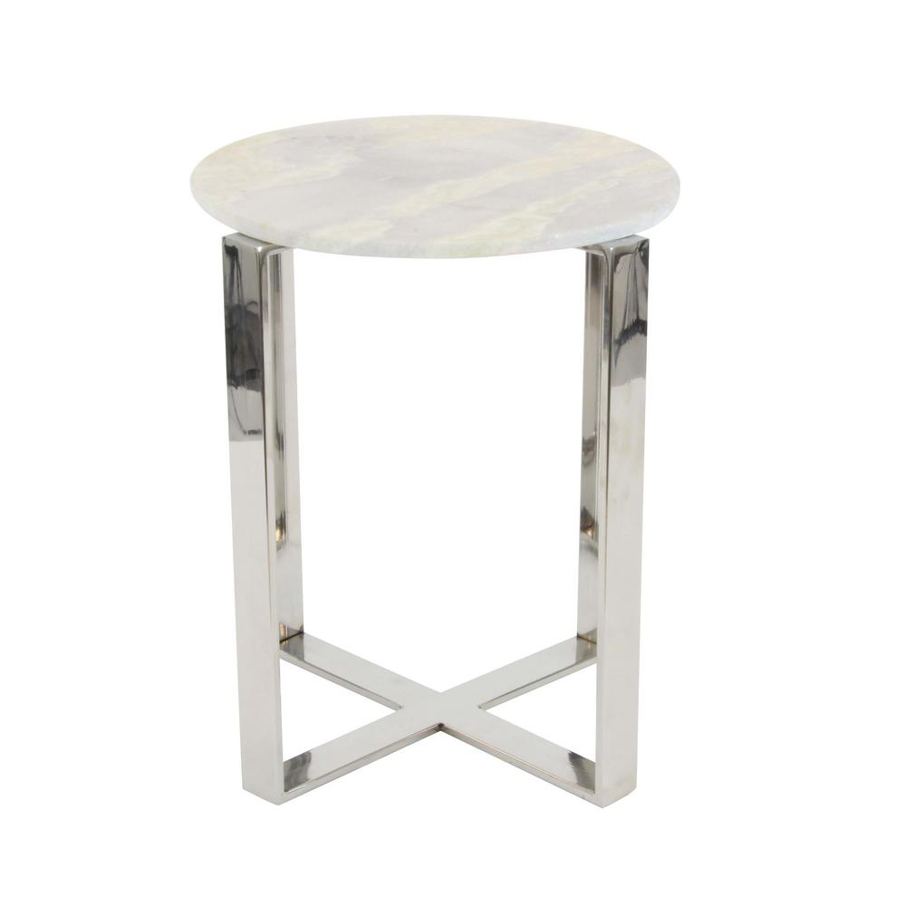 Litton lane modern stainless steel and marble end table in gray and silver