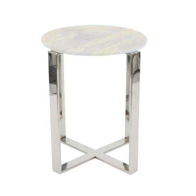 Modern Stainless Steel and Marble End Table in Gray and Silver
