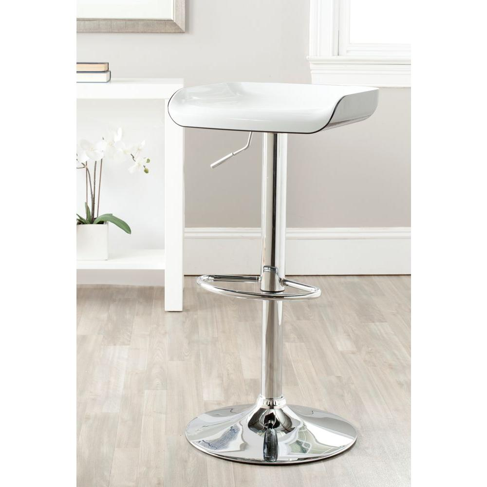 Rameka Adjustable Height Chrome Swivel Cushioned Bar Stool