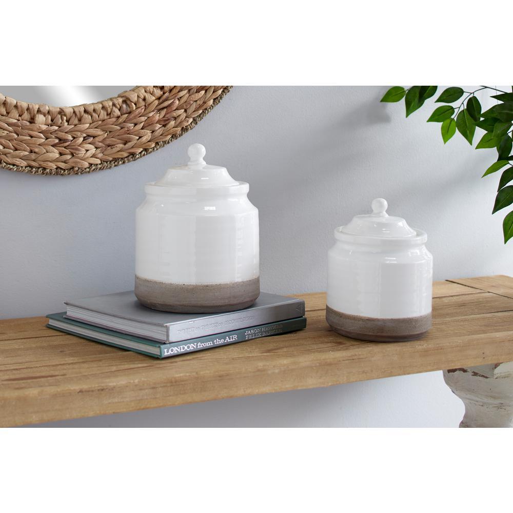 White and Gray Stoneware Decorative Jars (Set of 2)