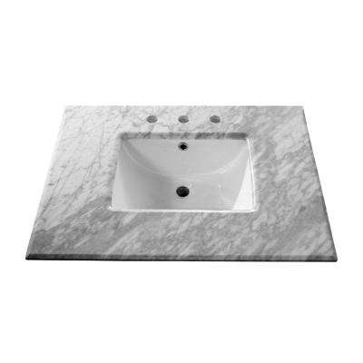 Oakdale 30 in. W x 21.8 in. D Marble Single Basin Vanity Top in White with White Basin