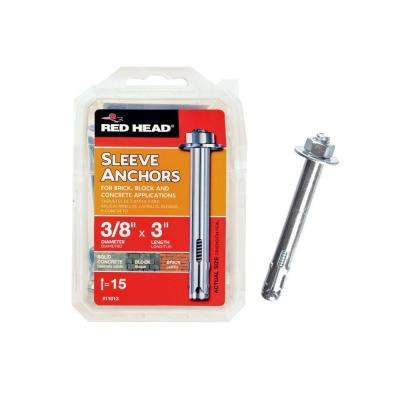 3/8 in. x 3 in. Hex-Head Sleeve Anchors (15-Pack)