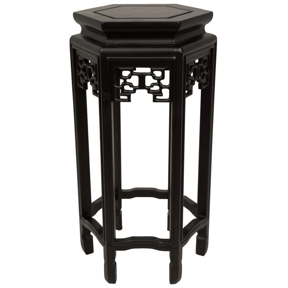 Oriental Furniture 10 in. Rosewood Hexagon Plant Stand in Black