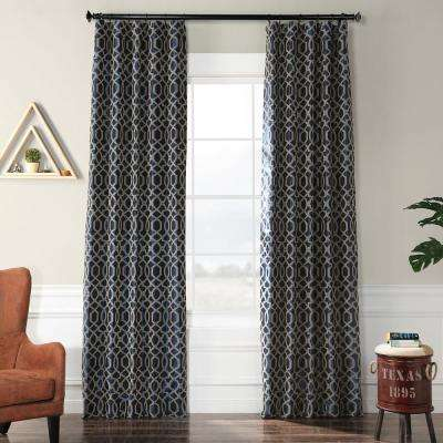 Filigree Deep Blue and Silver Flocked Faux Silk Curtain - 50 in. W x 120 in. L