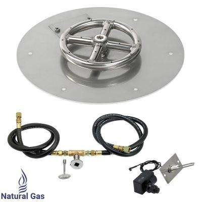 12 in. Round Stainless Steel Flat Pan with Spark Ignition Kit - Natural Gas (6 in. Ring Burner Included)