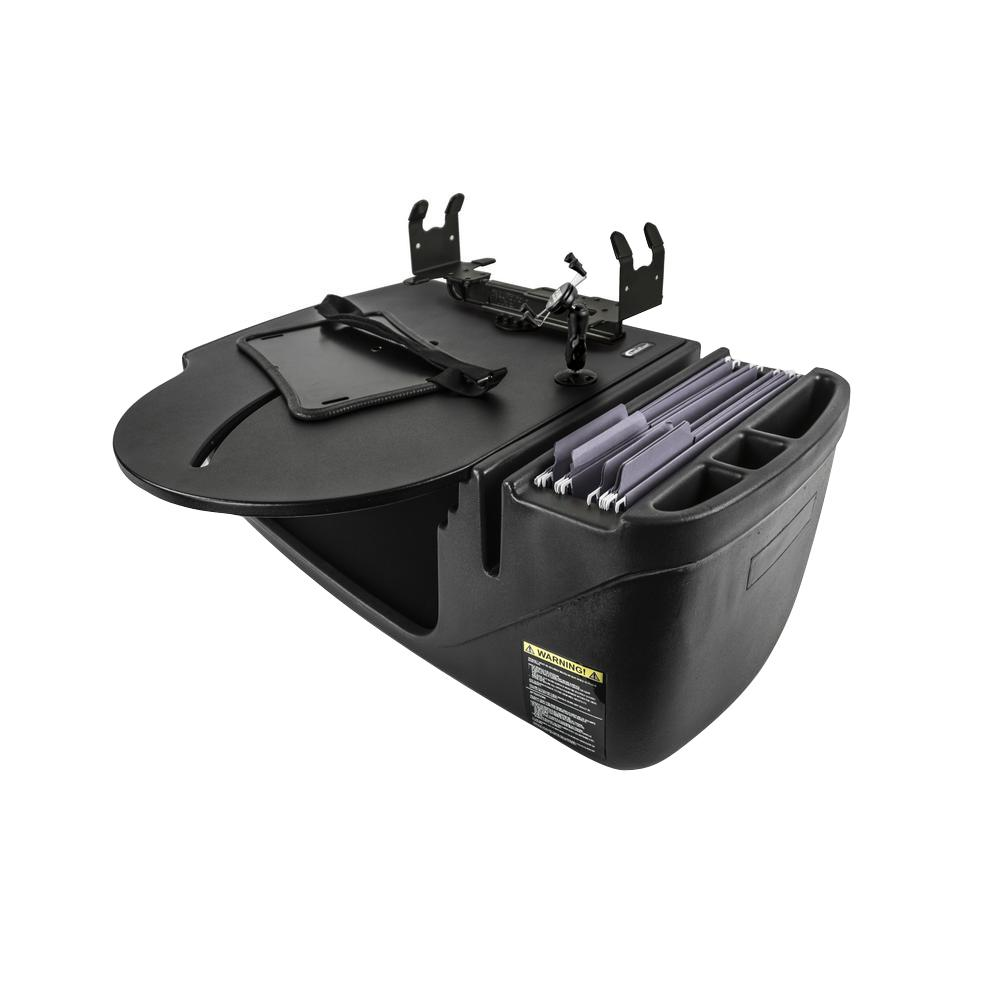 AutoExec Roadmaster Car Desk with Phone Mount, Tablet Mount, and Printer Stand Black The RoadMaster Car Desk is the perfect solution to those who need a stable work station to place their Laptop on to work. The 21 in. W top has an adjustable laptop plate so the laptop can be moved to a comfortable, ergonomic typing position. The laptop plate extends past the edge of the desk by another 3 in. making it 24 in. of overall reach from the far edge of the desk.