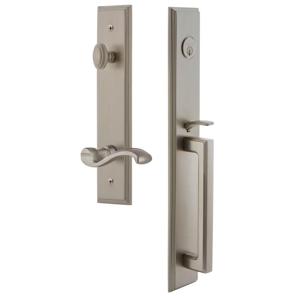 Grandeur Carre Satin Nickel 1-Piece Door Handleset with D Grip and Portofino Lever