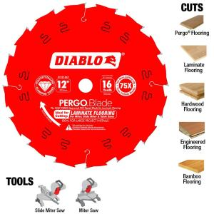 Diablo 12 In X 16 Tooth Polycrystalline Diamond Pcd Tipped Ultimate Flooring Blade D1216lf The Home Depot