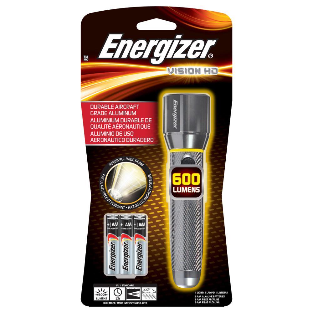 Energizer 600 Lumens 6 AAA Batteries Performance Metal Flashlight