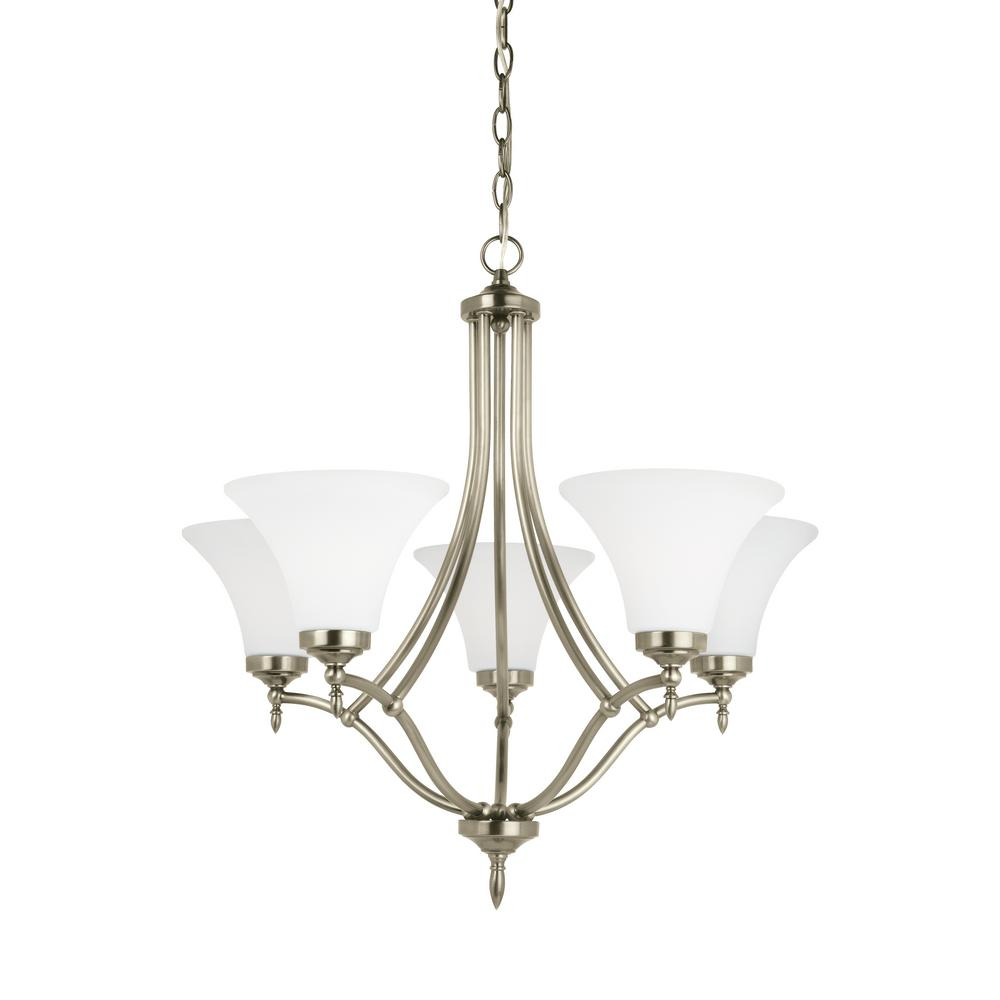 sea gull lighting montreal 5 light antique brushed nickel 87980