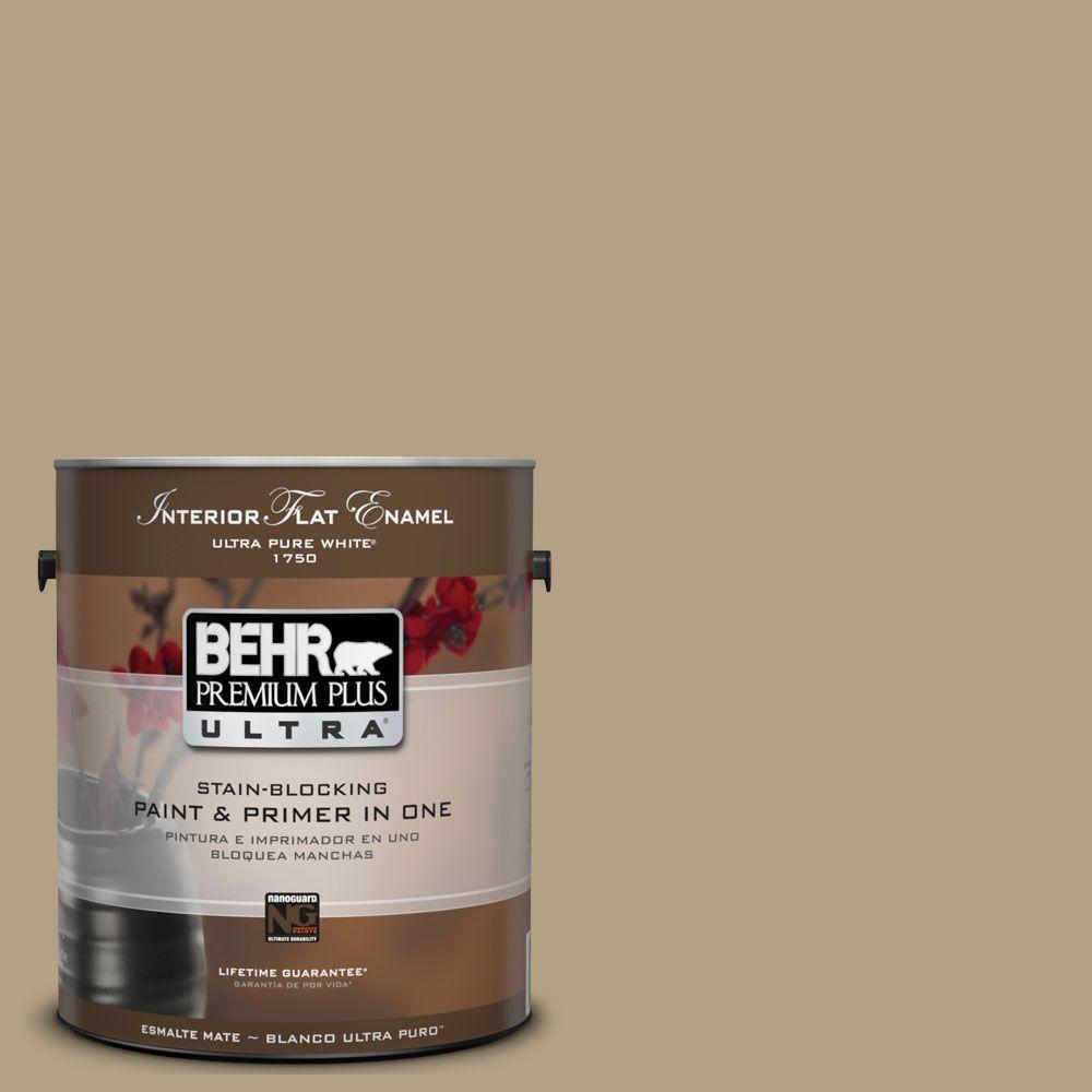 BEHR Premium Plus Ultra 1-gal. #UL190-18 Chamois Tan Interior Flat Enamel Paint