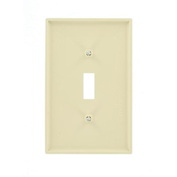 Leviton 1 Gang Midway Toggle Nylon Wall Plate Ivory R51 00pj1 00i The Home Depot