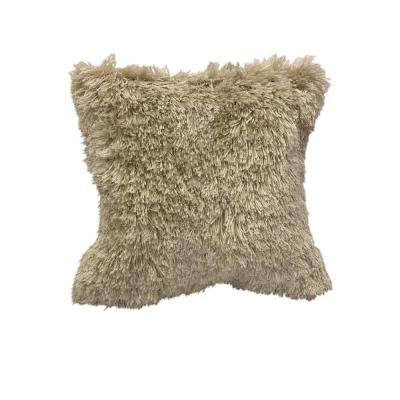 Quinto Ivory Shag Solid Fluffy Poly-Fill 18 in. x 18 in. Throw Pillow