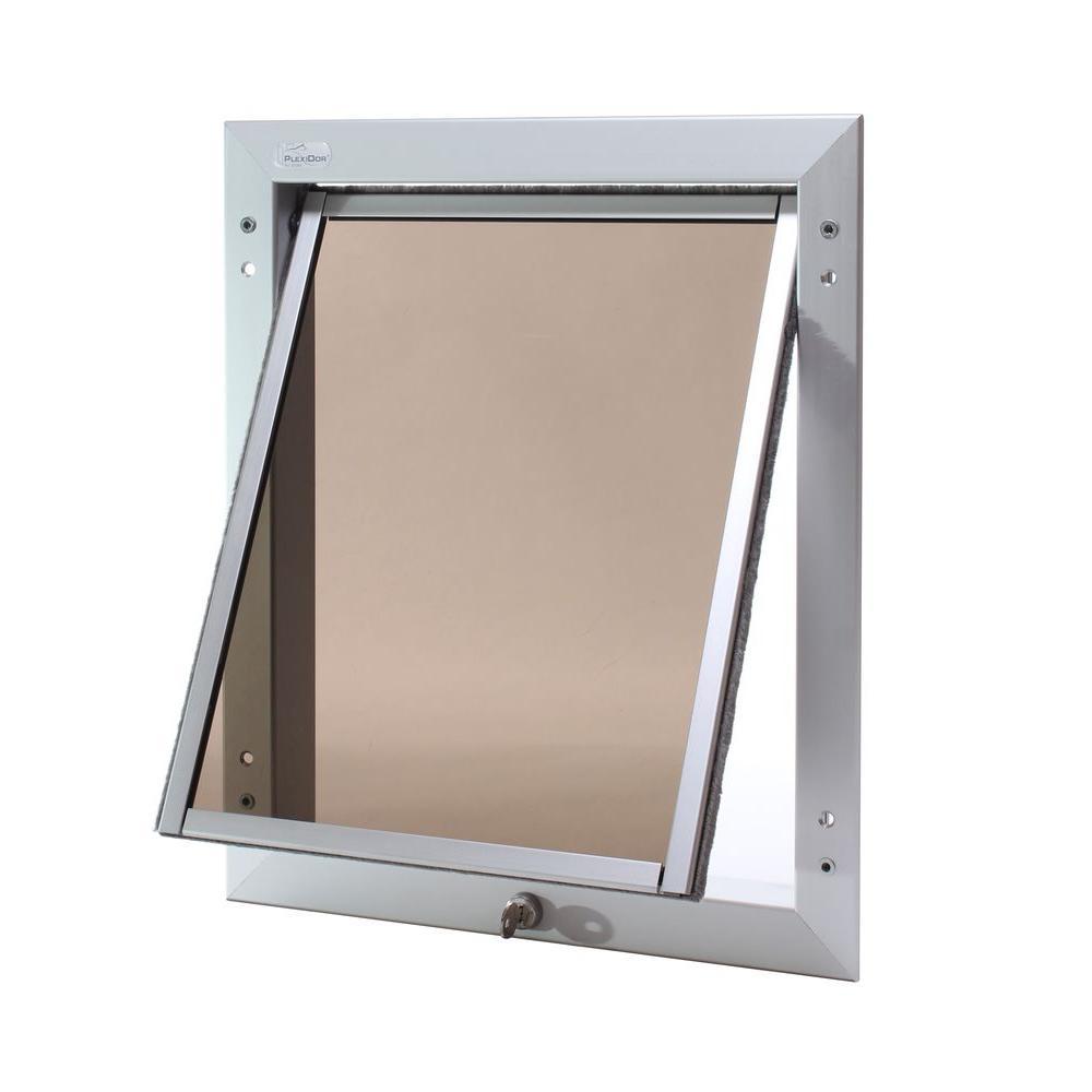 PlexiDor Performance Pet Doors 13.25 in. x 16 in. Chew Proof Large Top Swing Silver Wall Mount Dog Door-DISCONTINUED