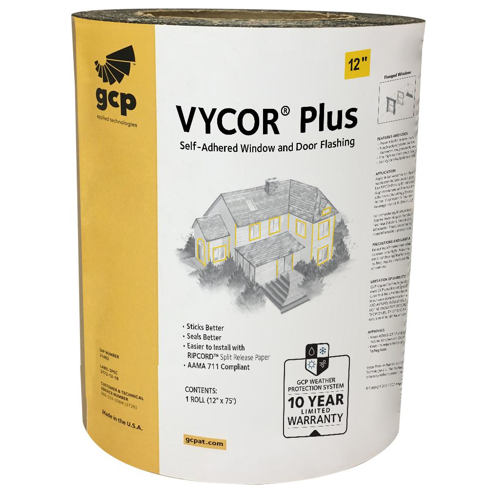 Gcp Applied Technologies Vycor Plus 12 In X 75 Ft Roll Fully Adhered Flashing Tape 75 Sq Ft 5003107 The Home Depot