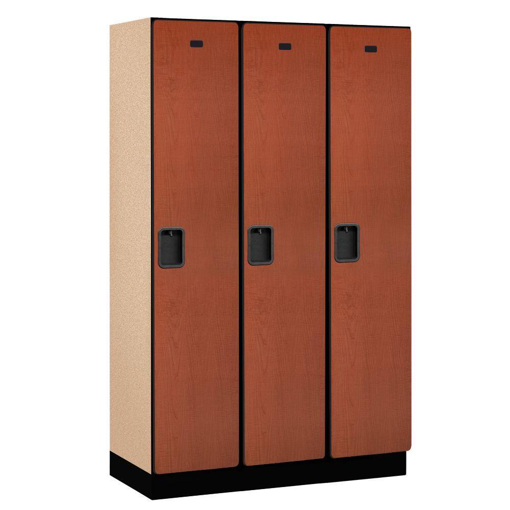 21000 Series 1-Tier Wood Extra Wide Designer Locker in Cherry - 15 in. W x 76 in. H x 18 in. D (Set of 3)