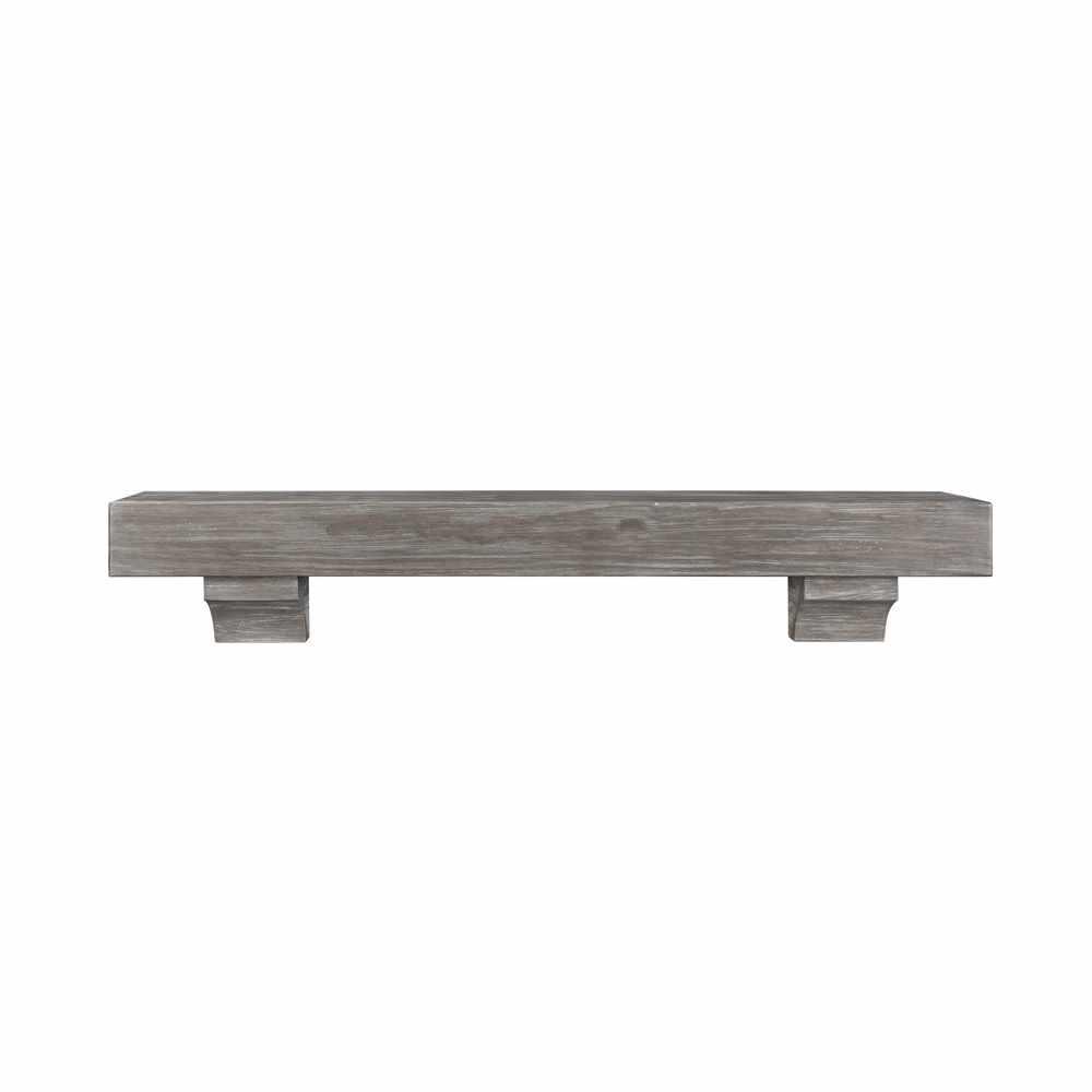 Cottage Gray Distressed Finish Cap Shelf Mantel
