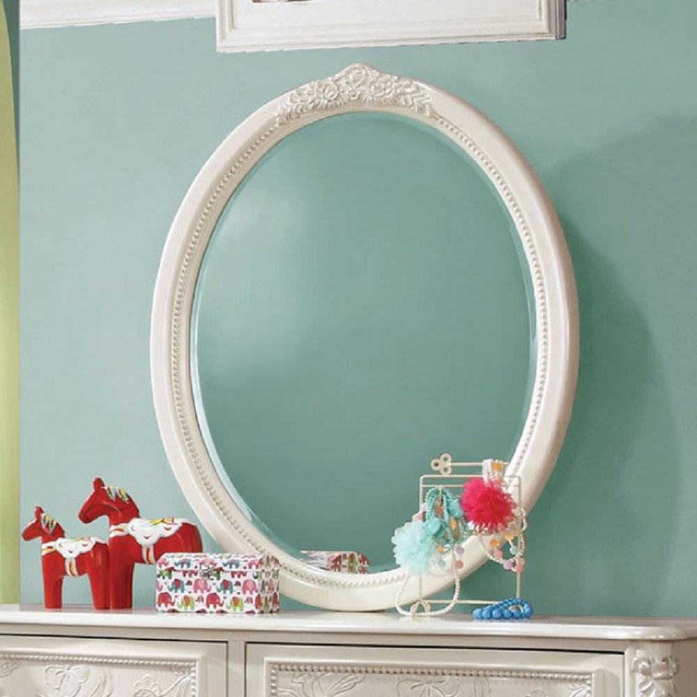 Oval Shaped White Finish Traditional Decorative Wall Mirror