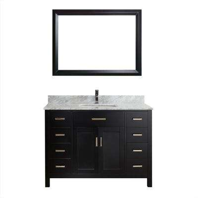 Kalize 48 in. Vanity in Espresso with Marble Vanity Top in Carrara White and Mirror