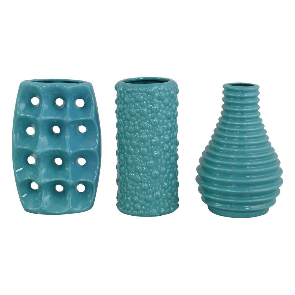 Mia Teal Ceramic Vases (Set of 3)