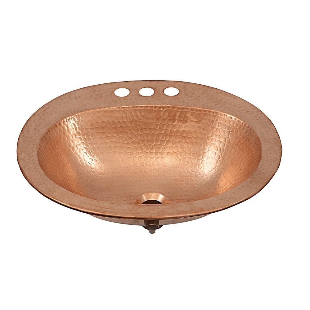 SINKOLOGY Kelvin Drop-In Handcrafted Copper Bathroom Sink with 4 in. Faucet Holes in Naked Copper