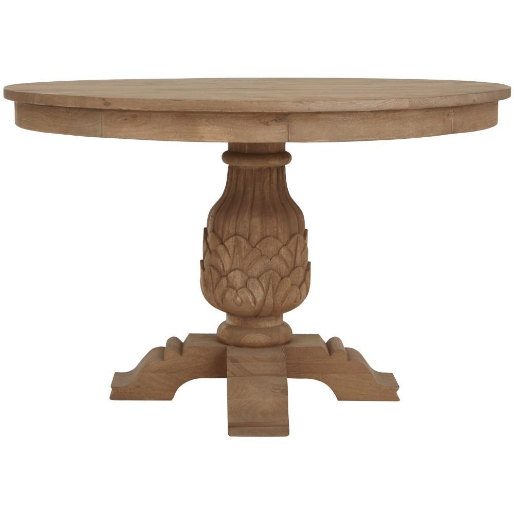 kingsley sandblasted antique natural round dining table  sandblasted     kitchen  u0026 dining tables   kitchen  u0026 dining room furniture   the      rh   homedepot com