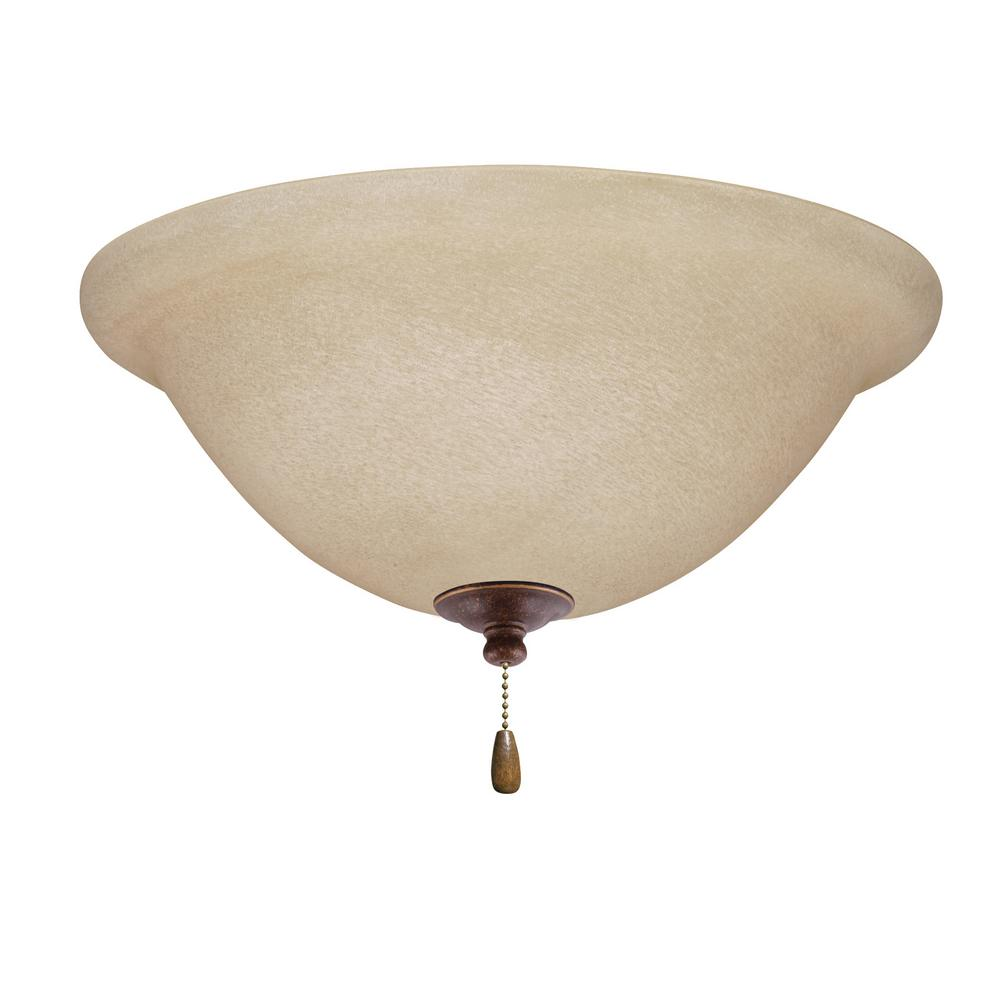 Amber Mist LED Array Gilded Bronze Ceiling Fan Light Kit