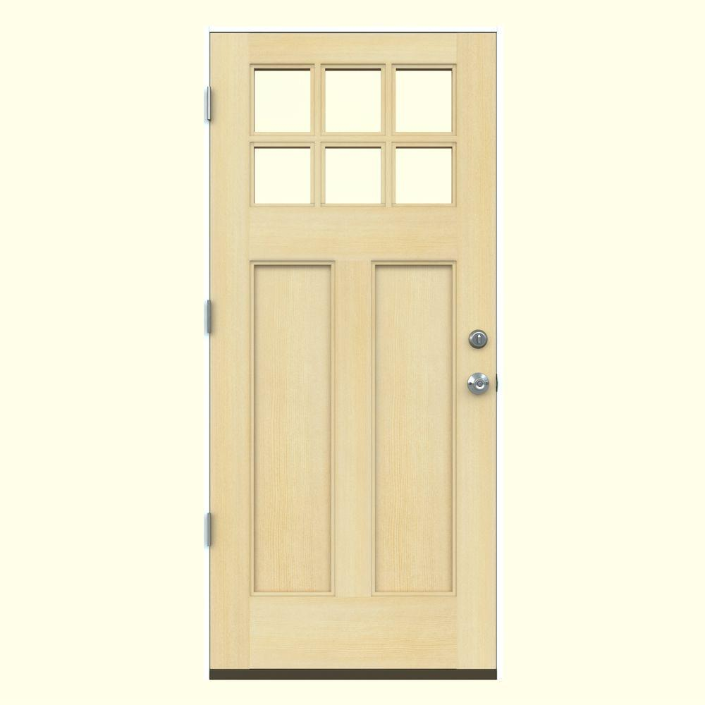36 in. x 80 in. 6 Lite Craftsman Unfinished Wood Prehung