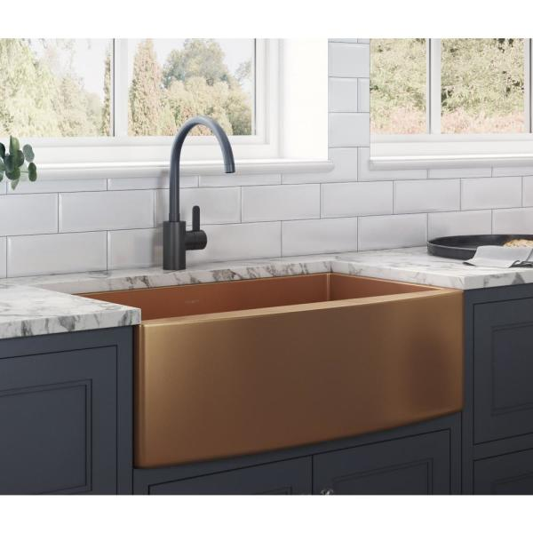 Farmhouse Apron-Front Stainless Steel 30 in. Single Bowl Kitchen Sink in Copper Tone Matte Bronze