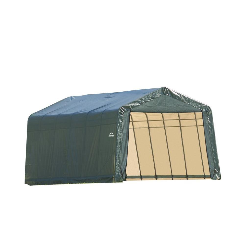 ShelterLogic 13 ft. x 28 ft. x 10 ft. Green Steel and Polyethylene Garage without Floor