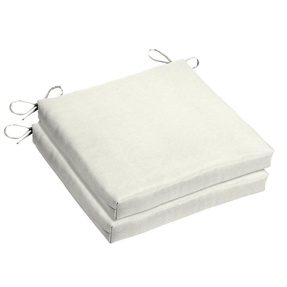 Sunbrella Canvas White Square Outdoor Seat Cushion (2 Pack)