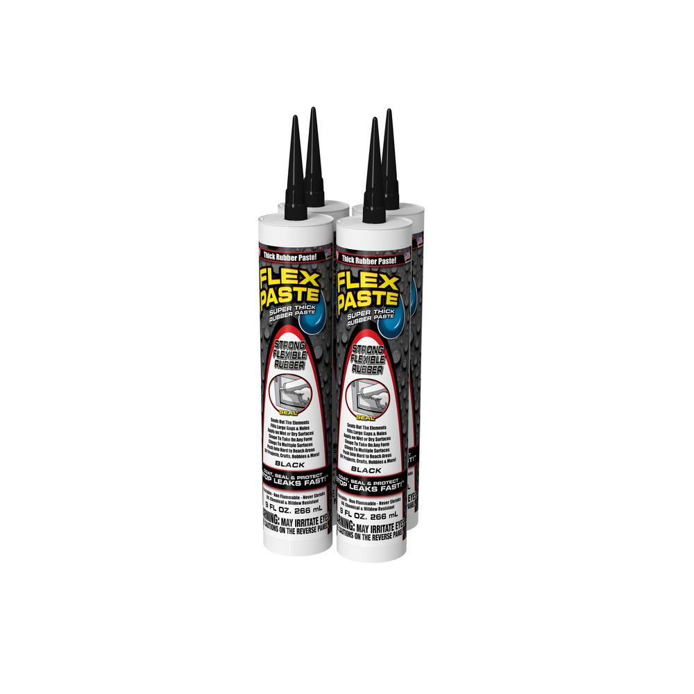 Flex Paste 9 oz. Black Cartridge All-Purpose Strong Flexible Watertight Multipurpose Sealant (4-Pack)